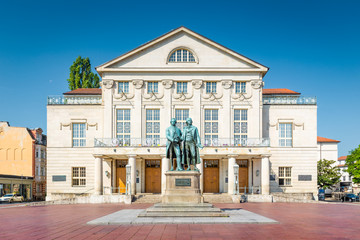 Weimar Nationaltheater with Goethe-Schiller monument, Thuringia, Germany