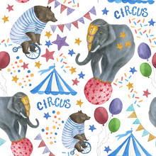 Watercolor Painting Seamless Pattern With Bear And Elephant On Circus Show