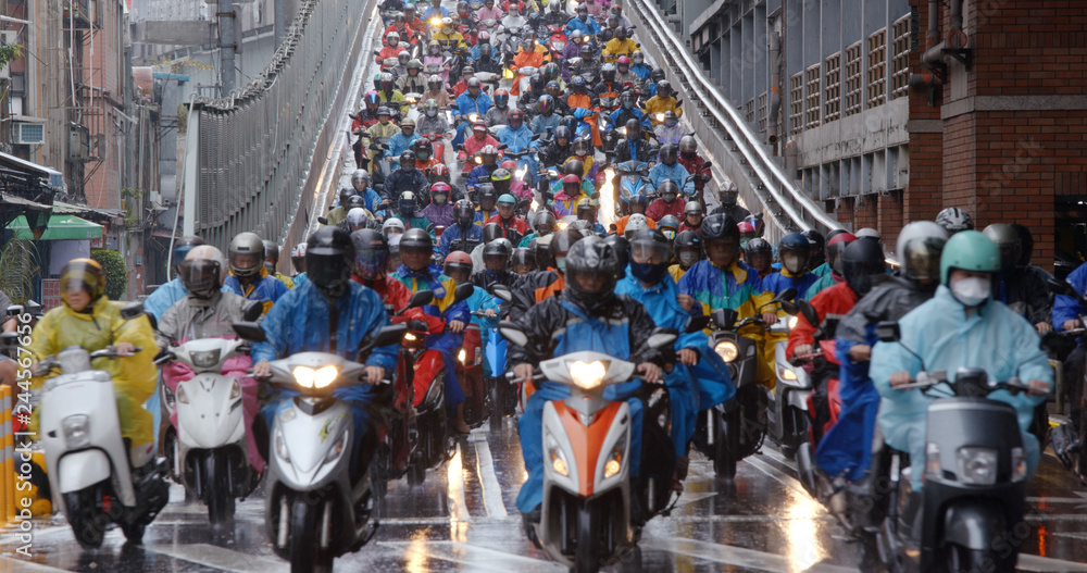 Fototapety, obrazy: Crowded of scooter in taipei city at rain day