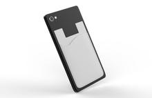 BLANK PHONE WALLET AND CARD HOLDER KIT. 3D RENDER ILLUSTRATION.