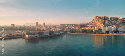 Tablou Canvas Aerial waterside drone point view Alicante cityscape. Spain