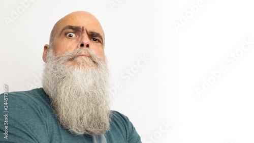 skeptical looking bearded man Canvas Print