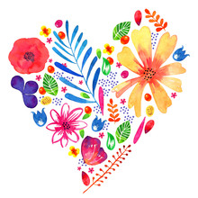 Floral Heart Watercolor Hand Drawn Illustration. Decorative Sketch Plants And Flowers In Heart Shape Form. Design Template For Cards And Prints