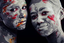 Women Painted With Make-up And...