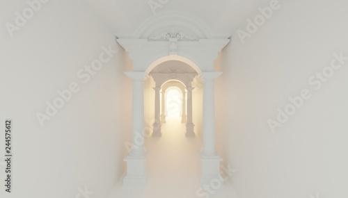 Photo 3d render roman ancient tunnel corridor to light hope