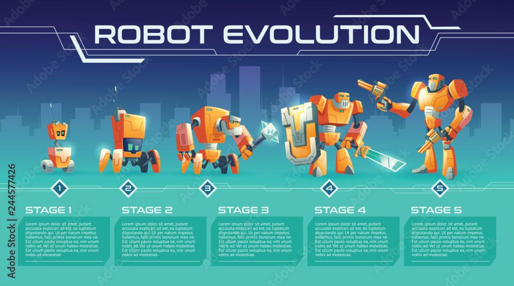 Photo  Battle robot evolution cartoon vector banner