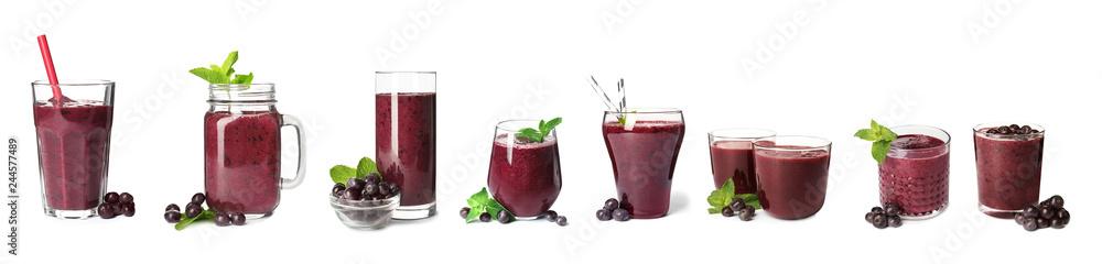 Fototapeta Set of delicious acai juice in different glassware on white background