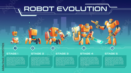 Photo  Battle robot evolution cartoon vector banner