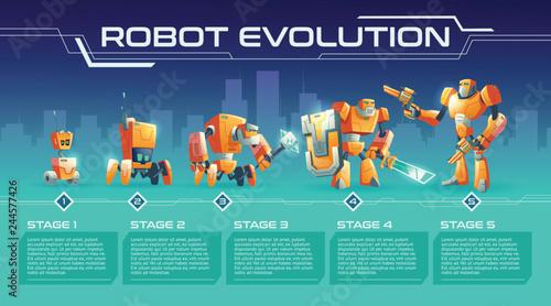 Fotografie, Tablou  Battle robot evolution cartoon vector banner