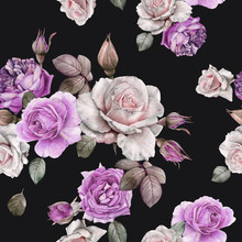 Floral Seamless Pattern With Watercolor White And Violet Roses