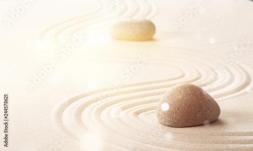 Foto op Plexiglas Stenen in het Zand Zen stones in the sand
