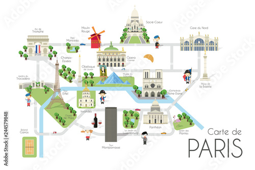 Photo  Cartoon vector map of the city of Paris, France