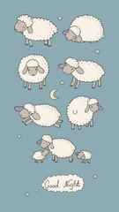 Panel Szklany Na drzwi Cute cartoon sheep set. Farm animals. Funny lambs. good night sweet dreams