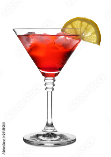 Glass of martini cocktail with lemon and ice cubes on white background