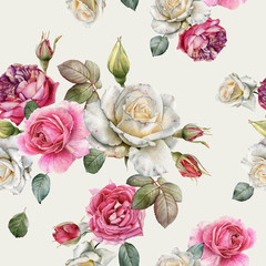 Fototapeta Róże Floral seamless pattern with watercolor white and pink roses