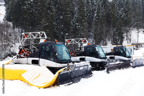 New modern snow plows at mountain resort