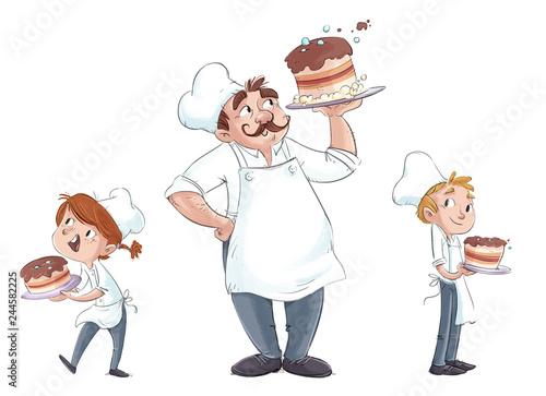 Carta da parati niños y hombre cocinero