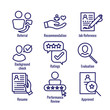 Referral Job Reference Icon Set with recommendations, performance review, etc