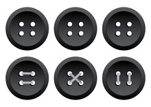 Black Round Clothing Buttons W...