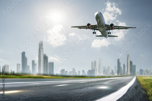 Fototapety, obrazy: Flugzeug bei der Landung