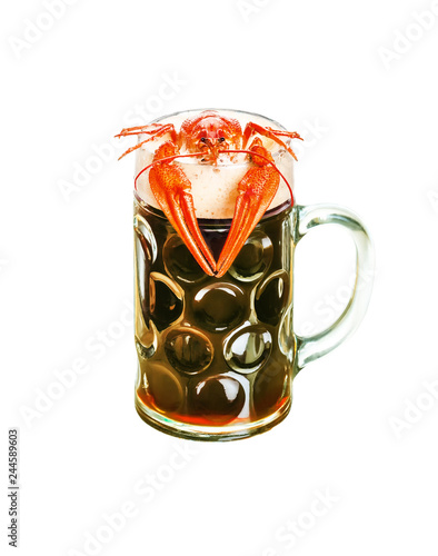 Tuinposter Bier / Cider crawfish with beer isolated on white background
