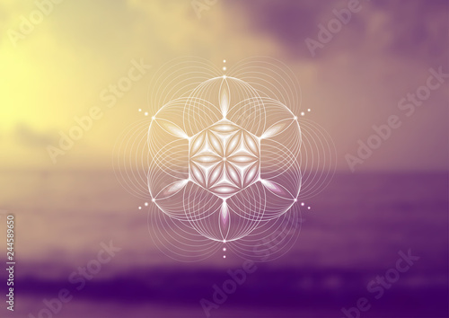 Leinwand Poster Vector template; Spiritual sacred geometry; Abstract geometric shape based on ancient symbol - flower of life on psychedelic natural photographic background; Yoga, meditation and relax