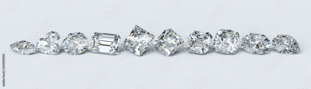 Fototapeta Ten the most popular diamond cut styles in line on white background