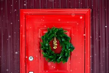Christmas Veins On The Red Door. Contrast Picture.