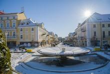 Snow Winter In The Center Of The Small Spa Town Frantiskovy Lazne (Franzensbad) Near Historical City Cheb - Czech Republic (region Karlovy Vary)