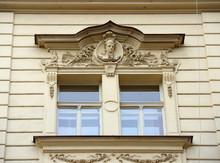 Close-up Ornate Windows Of Old Building In Prague, Czech Republic.
