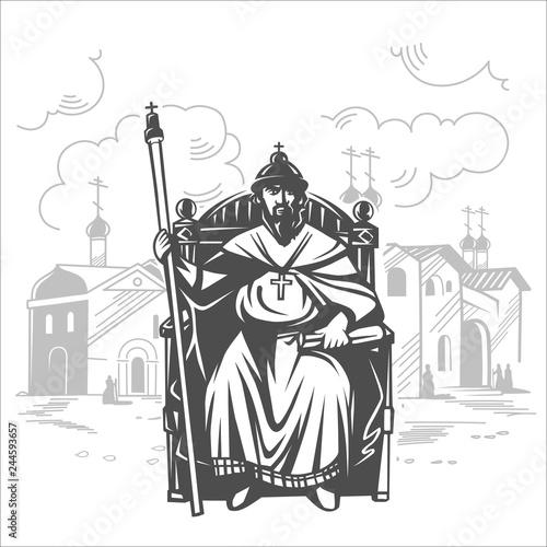 Russian tsar on the throne. King. Fototapeta
