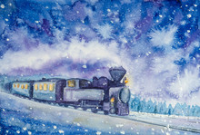 Steam Locomotive Rides On A Winter Night Watercolor