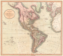 1806, Cary Map Of The Western Hemisphere, North America And South America , John Cary, 1754 – 1835, English Cartographer