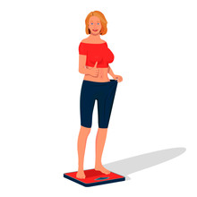 A Woman Stands On The Scales And Enjoys Weight Loss. The Woman Shows That She Lost Weight.