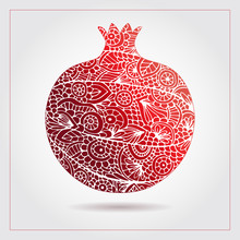Vector Creative Abstract Pomegranate Fruit. Decorative Design For Jewish Holidays. Tu Bishvat, Sukkot, Rosh Hashanah. Hand Drawn Pattern With Pomegranate Ornaments And Elements. Healthy Food Logo.