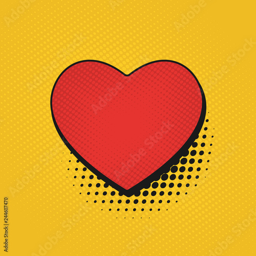 Valentine's Day comic pop art background. Retro poster heart