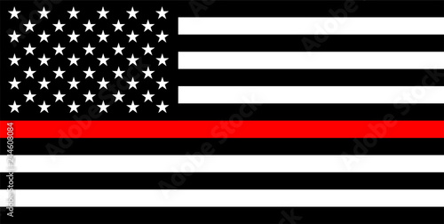 Photo  thin red line flag