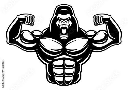 Photo Black and white illustration of gorilla bodybuilder.