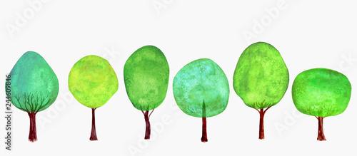 La pose en embrasure Blanc Trees set. Summer background. Watercolor cartoon green colorful fresh tree collection