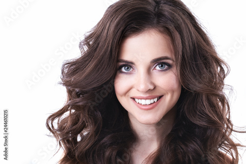 Beautiful woman face close up studio, hairstyle.