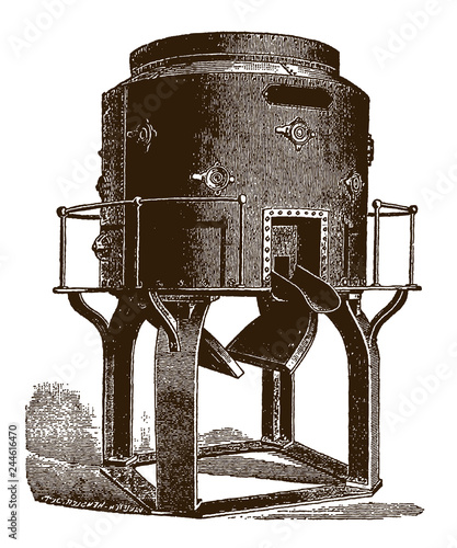Photographie Historical cupola furnace for melting iron(after an engraving or etching from t
