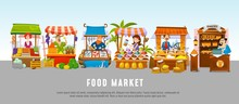 Food Market Cartoon Banner Con...