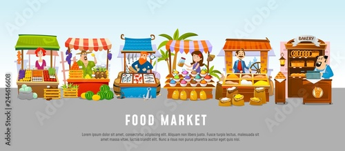 Fototapeta Food market cartoon banner concept