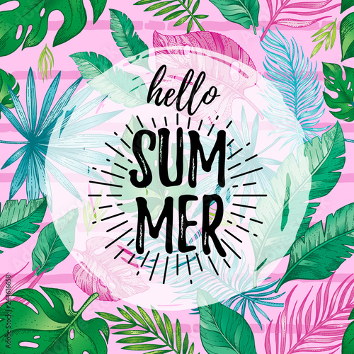 Hello Summer card poster with text, tropic leaf seamless