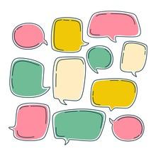 Colorful Bubble Speech Set. Di...