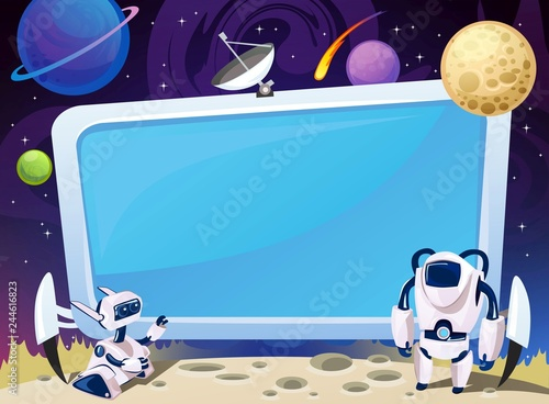 Obraz Cartoon space background with empty computer screen in the middle. Vector cosmic illustration for party, greeting card, invitation, certificates etc - fototapety do salonu