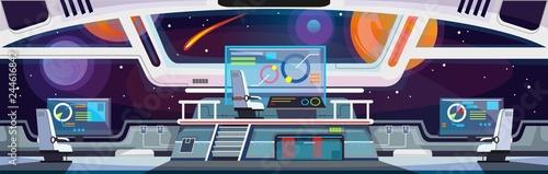 Cuadros en Lienzo Cartoon spaceship interior design. Vector illustration