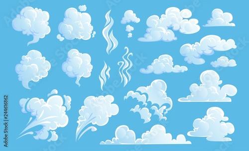 Fototapeta Steam clouds set. White cartoon sky and steam clouds on blue background. Vector illustration obraz