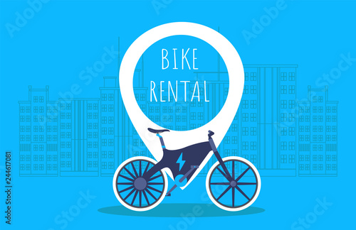 Fototapety, obrazy: Bike rental. Rent bike. Electric Bike. Bicycle sign for web or print in flat design. Blue background with big city on background. Vector illustration.