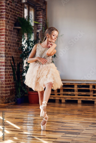 Fotografía  Young ballerina in tutu and pointe ballet shoes practicing dance moves in the dancing hall